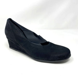 arche black nubuck suede slip on wedge 9.5 40.5